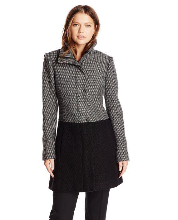 Jessica Simpson Women's Color Block Funnel Neck Wool Coat