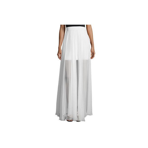 Milly Flowy Silk Maxi Skirt W/ Front Slit (41,265 INR) ❤ liked on Polyvore featuring skirts, white, pleated maxi skirts, long white maxi skirt, full length maxi skirt, long pleated maxi skirt and long pleated skirt