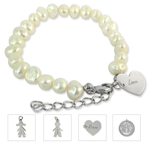 Pearl Bracelet with Charm | MyNameNecklace