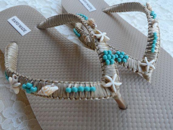 Gold Shell Bridal Flip Flops / Beach Wedding Flip Flops / Shell and Starfish Flip Flops / Summer Beach Flip Flops / Bohemian Style Sandals.