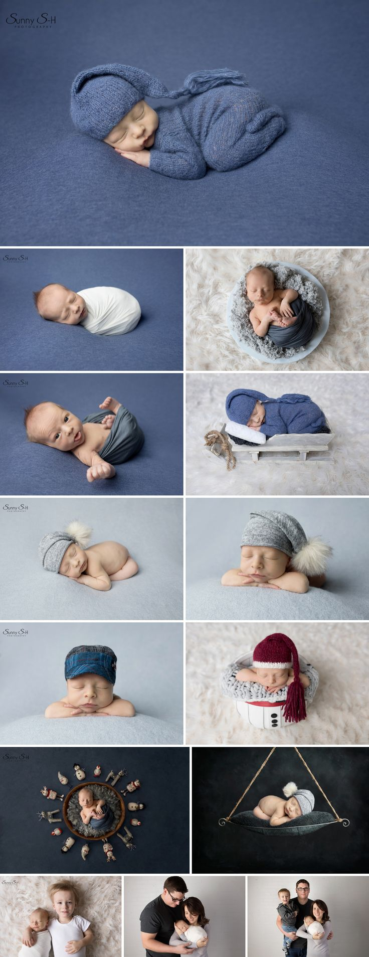 Winter themed studio newborn photo shoot with 11 day old Aiden. Sunny S-H Photography Winnipeg