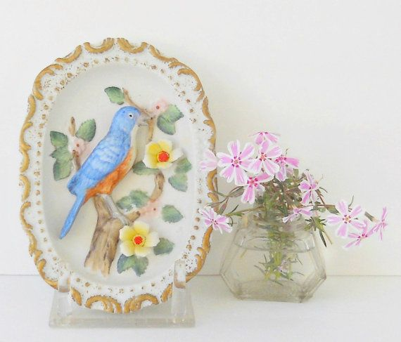 Vintage Homco Red Breasted Robin Oval Wall by RosebudsOriginals