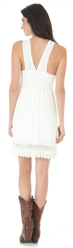 Wrangler Women's V Neck Crochet Trim Sleeveless Dress - Country Outfitter