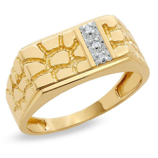 Men S Diamond Accent Rectangle Nugget Ring In 10k Gold Zales Gold Nugget Ring Yellow Gold Round Diamond Rings For Men