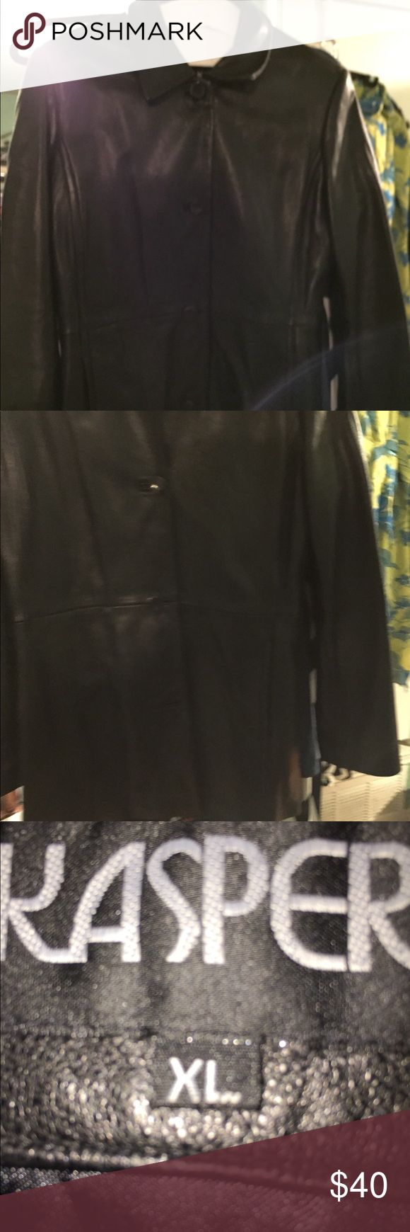 """Kasper Leather Coat This coat is beautiful with no tears .  It is lined  Bust 221/2"""" Arm 25 1/2"""" Length 32 1/2 This is an xl but fits more like a large.  There are no tears in it and not only is it buttoned down with 4 buttons but they are reinforced by buttons.  This is a great buy. Kasper Jackets & Coats"""