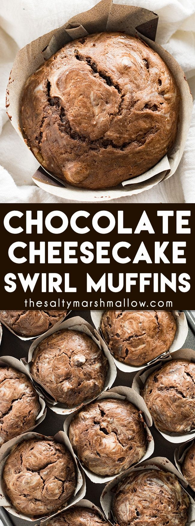 Chocolate Cheesecake Swirl Muffins - The best double chocolate muffins with a mouthwatering cream cheese swirl!  These cheesecake muffins are easy to make for the perfect decadent breakfast or brunch!