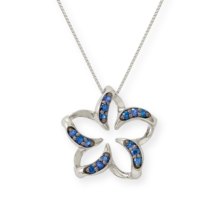 """14K White gold floating plumeria pendant with 0.20 carats (total weight) of blue sapphires. Pendant measures 5/8"""". (14K 17"""" White gold chain included).Gold Floating, Gold Chains, Chains Include, 14K White, Blue Sapphire, Sapphire Pendants, White Gold, Pendants Measuring, Pendants Chains"""