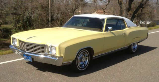 1972 Monte Carlo Cream Yellow Light Covert Tan Vinyl Top Muscle Cars Camaro Classic Car Garage American Classic Cars