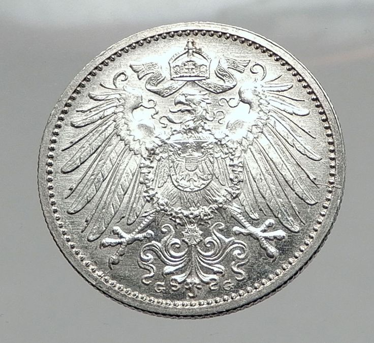 1914 WILHELM II of GERMANY 1 Mark Antique German Empire Silver Coin Eagle i64427