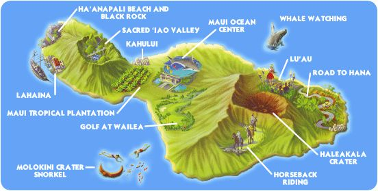 Simple illustrated map of Maui Hawaii – Hawaii Tourist Attractions Map