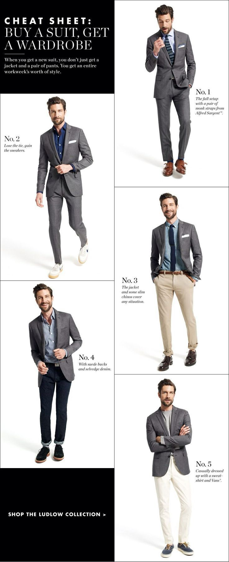 Learn To Create 5 Different Styles With The Same Suit Using Different Combinations Of Shirts