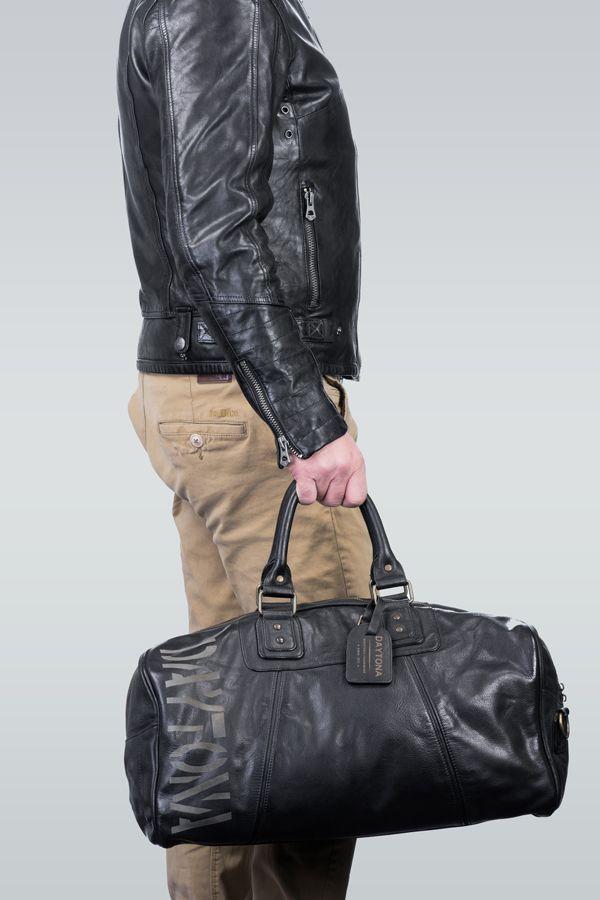 Sac de sport street en cuir noir pour homme Daytona 73 | Bag black leather