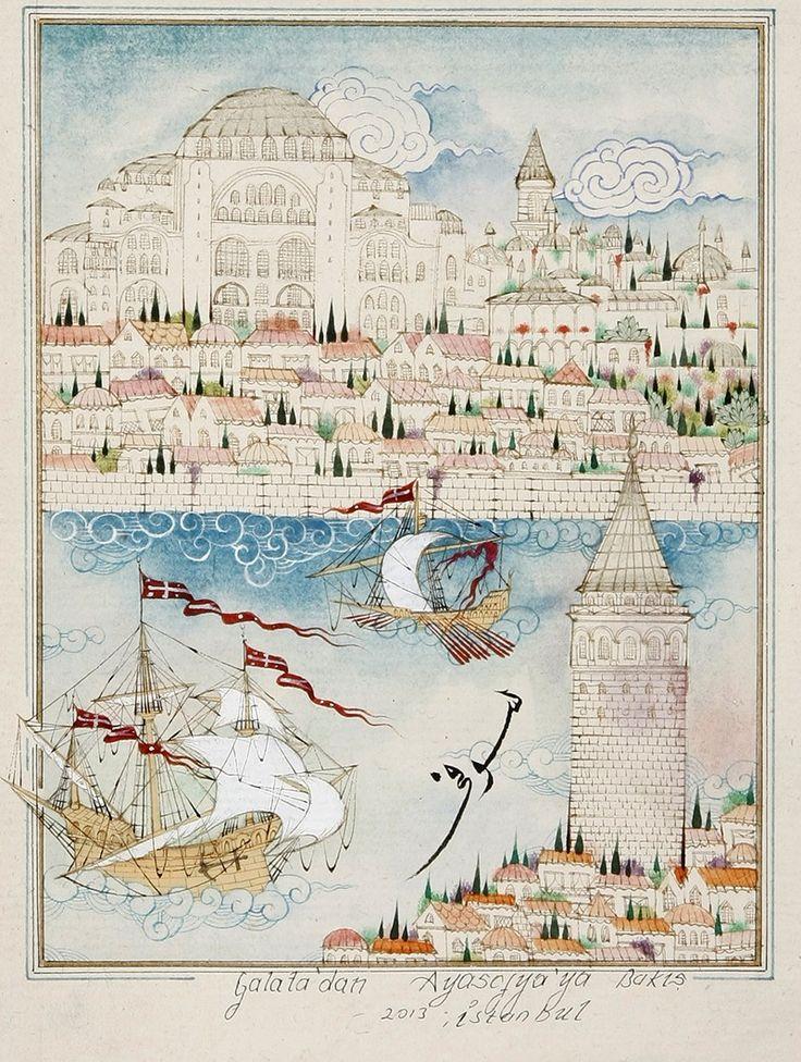 Galata'dan Ayasofya'ya Bakış Minyatür-Taner Alakuş Minyatür Atölyesi