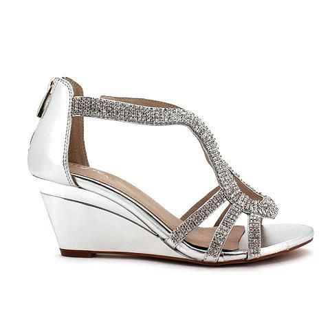 Got the dress. Gotta get the shoes!   Mid-height silvery shoes.