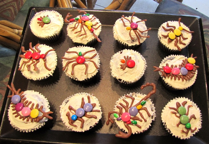 Bug Cupcakes! Pipe scorpions, spiders etc with melted chocolate and use Smarties, M's and chocolate covered sunflower seeds to decorate. I made these for Halloween 2010! :)