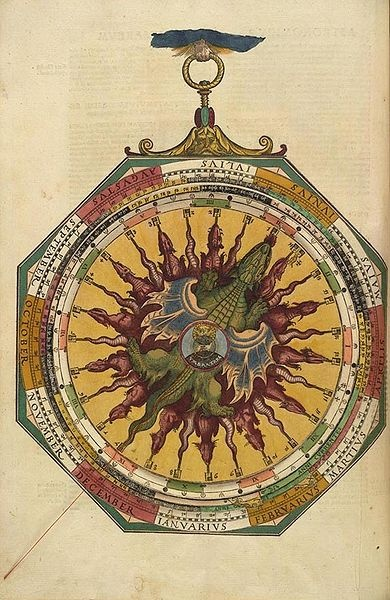 A volvelle from Astronomicum Caesareum c. 1540 showing the orbital period off the moon. (from the Lib. of Congress)
