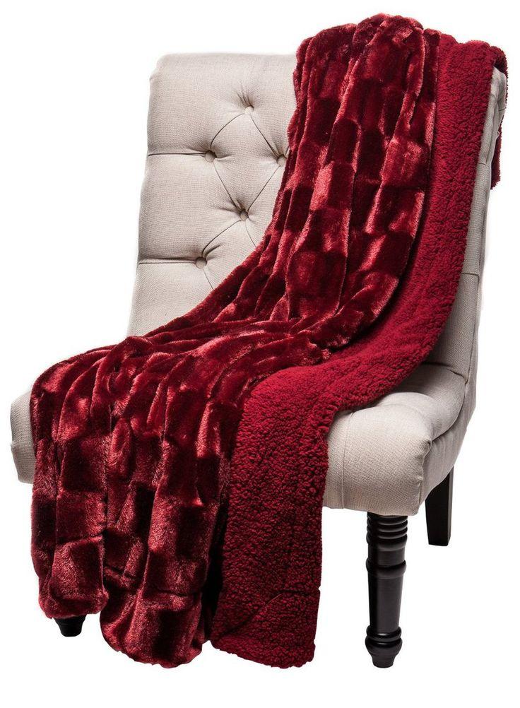 Chanasya Super Soft Cozy Sherpa Fuzzy Fur Warm Maroon Red Throw Blanket - Box... - Chanasya, a Purchase Corner LLC