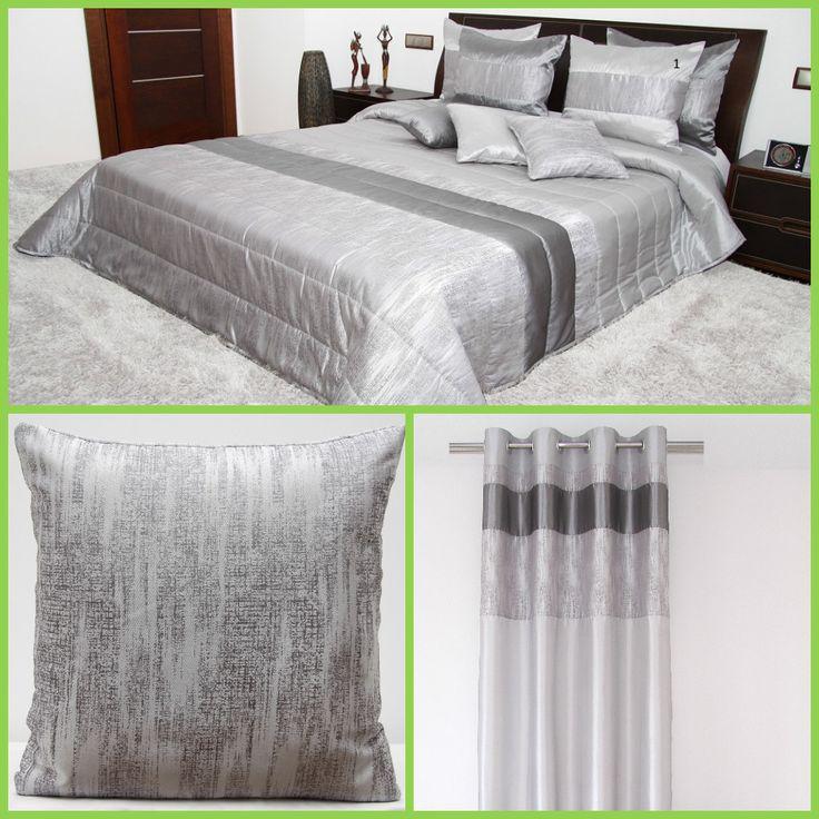 Zestaw dekoracyjny do sypialni w kolorze szarym