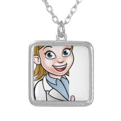 Scientist Cartoon Character Pointing at Sign Silver Plated Necklace - jewelry jewellery unique special diy gift present