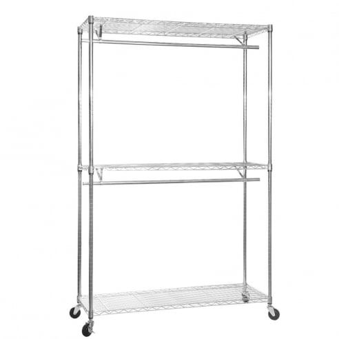 Chrome Wire Clothes Rack with Heavy-Duty Wheels - 3 Shelves & 2 Rails, H2175 x W1200 x D450 mm