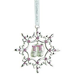 Reed & Barton LO503PK Lunt Baby's First Christmas Ornament, Pink