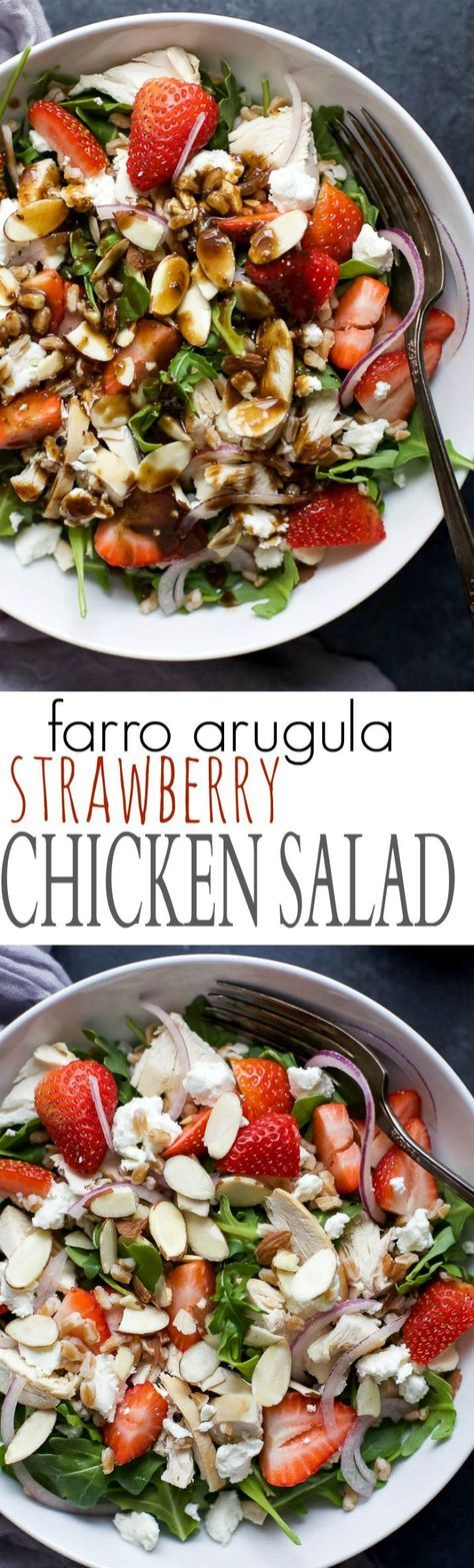 Fresh ingredients make this FARRO ARUGULA STRAWBERRY CHICKEN SALAD shine. A super simple salad to throw together for lunch or dinner that's friendly on the waistline! | joyfulhealthyeats...