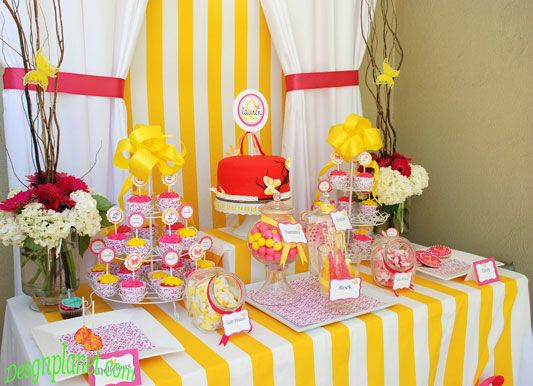 Pink and yellow bridal shower design home decorations for Pink and yellow wedding theme ideas