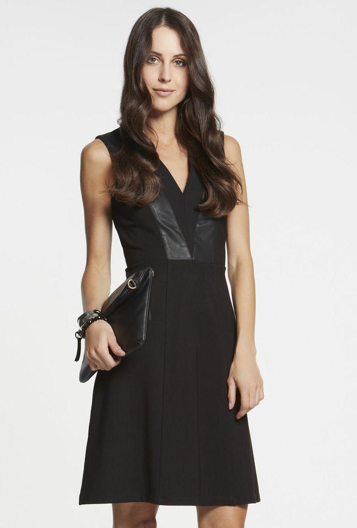 PU Spliced Ponti Dress $149
