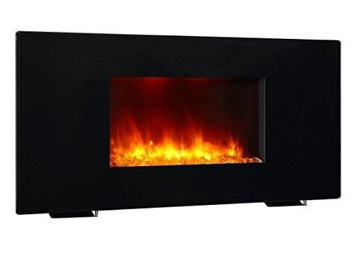 PuraFlame Galena Black 36 inch Remote Control Portable & Wall-mounted Flat Panel Fireplace Heater 13 Multi-color Mode LED Backlights 1350W
