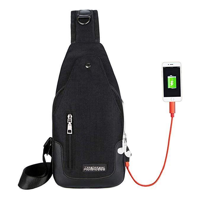 34c818a7e5e8 Sling Bag Men Chest Shoulder Backpack Crossbody Bag with USB ...