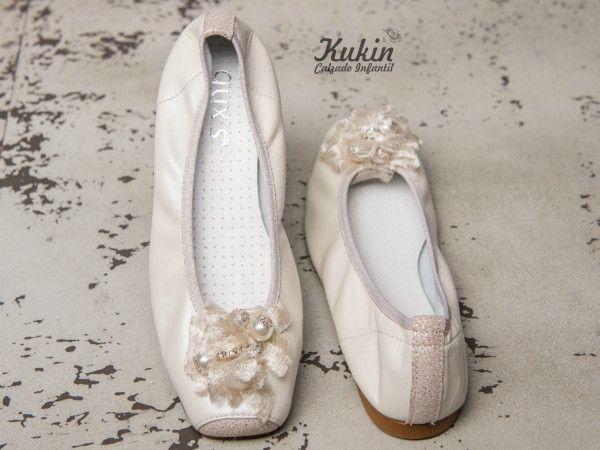 zapatos-ceremonia-niña comunion - calzado infantil - moda niña - zapateria infantil online - bailarinas ceremonia niña - zapatos niña - moda infantil - kukin calzado infantil - ballet - beige - zapatos comunion