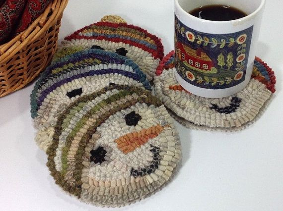 Rug Hooking PATTERN Snowmen Mug Rugs J858 by DesignsInWool on Etsy