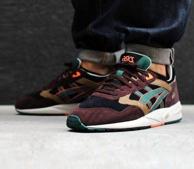 asics gel saga dark green burgundy