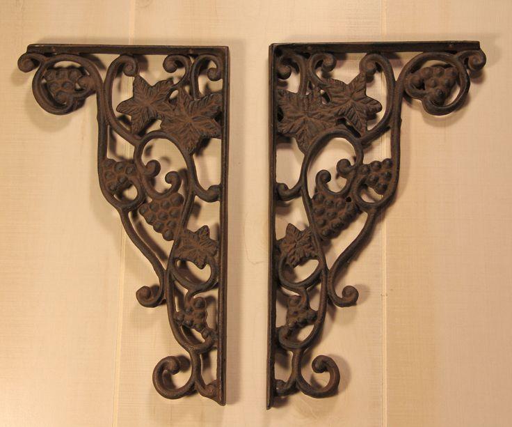rustic wrought iron grape vine shelf bracket