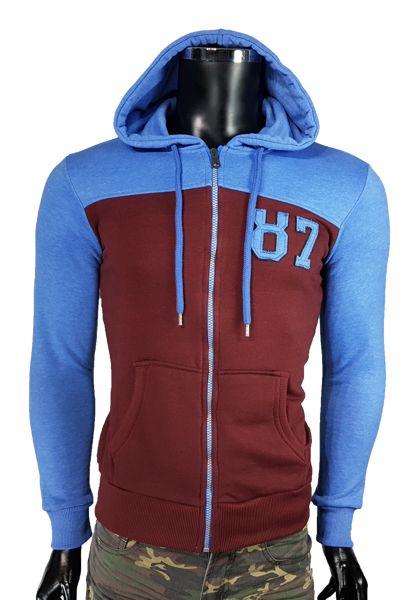 Rozpinane bluzy z kapturem bordowym kolorze. - Bordowym - Bluzy męskie - Awii, Odzież męska, Ubrania męskie, Dla mężczyzn, Sklep internetowy