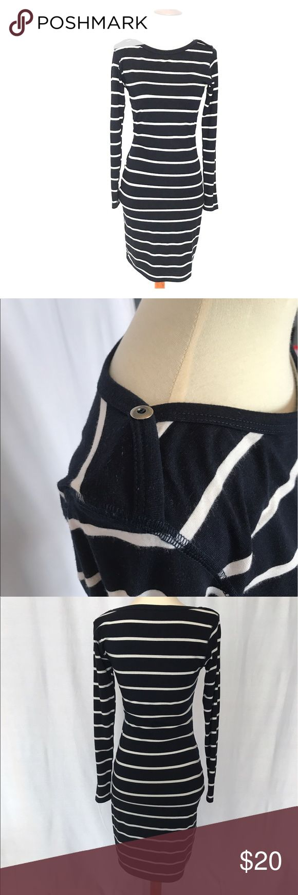 Navy Striped Nautical dress Loveapella navy with white stripes form fitting knee length dress. 79%polyester 16%rayon 5%spandex . Great classic preppy style. Loveappella Dresses Long Sleeve