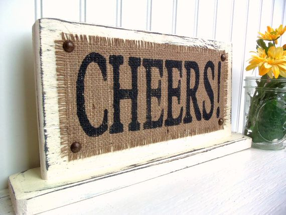CHEERS  TABLE TOP Sign Drink table wedding by SophiasSignBoutique, $35.00