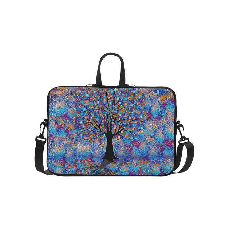 """Colorful Tree of Life Art by Juleez Laptop Handbags 15"""".Colorful Tree of Life is a carnival of colors and shapes by artist Juleez.  Exquisite detail in design."""