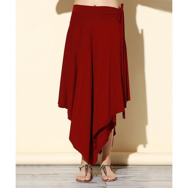 Rock N Doll Burgundy Asymmetrical-Hem Maxi Skirt (43 CAD) ❤ liked on Polyvore featuring skirts, plus size, women's plus size maxi skirts, long skirts, red maxi skirt, long red maxi skirt and red skirts