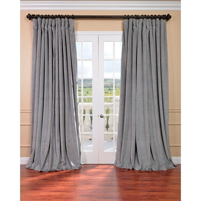 Exclusive Fabrics Silver Grey Velvet Blackout Extra Wide Curtain Panel (96-Inch), Size 100 x 96 (Cotton, Solid)