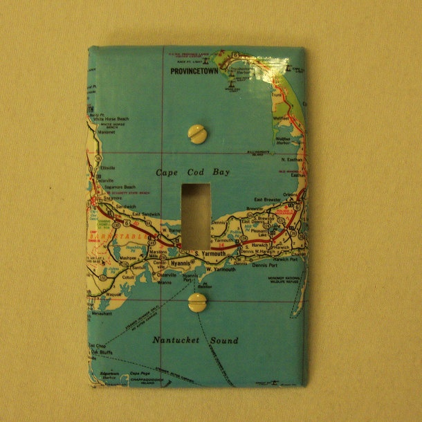 Map Covered Light Switch Plate, Cape Cod. $10.00, Via Etsy