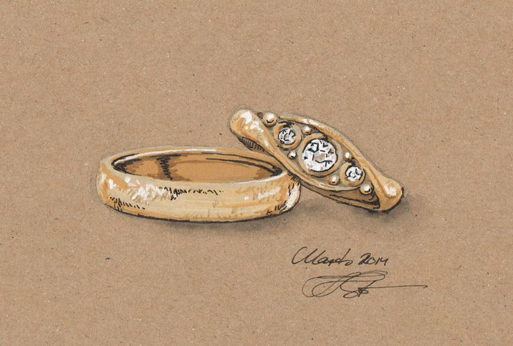 A drawing transformed into a gouache rendering before being turned into wedding rings. See the finished rings here: http://gallericastens.dk/showit.php?rtype=c&id=316&lang=uk