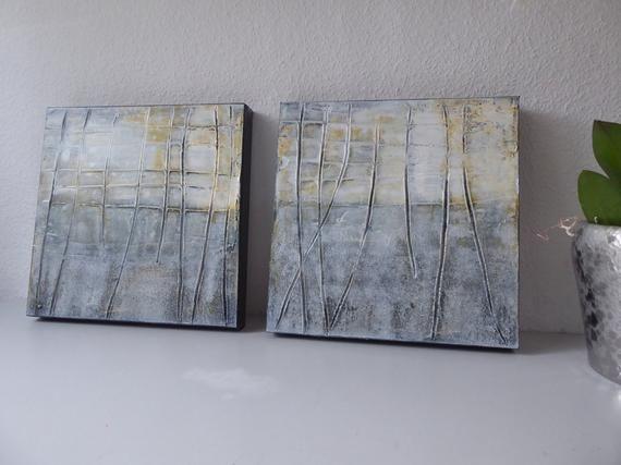 acrylbilder set 30x30cm grau weiss bilder mit strukturen linie und struktur acrylmalerei abs abstrakt abstrakte kunst malerei rahmen blau grün