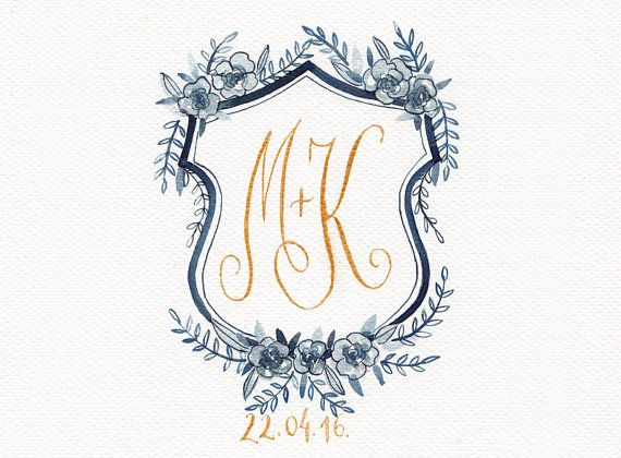 This listing is for DIGITAL Custom hand painted watercolor wedding crest/family crest. Crests in thumbnails are just samples of crests I did for other clients.  Painted by my hand and digitally edited to ensure a high quality product. This watercolor crest will be perfect as element for your wedding invitations, save the dates & thank you cards, envelope.  ♥ HOW IT WORKS ♥ Contact me with information of your favorite colors, flowers, themes and other details for your crest. After 1 -2 weeks…