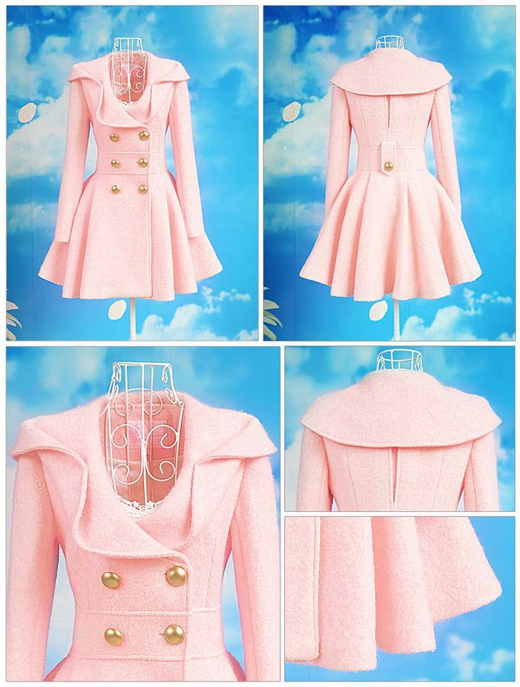 Elegant Lolita Pink Woolen Dress