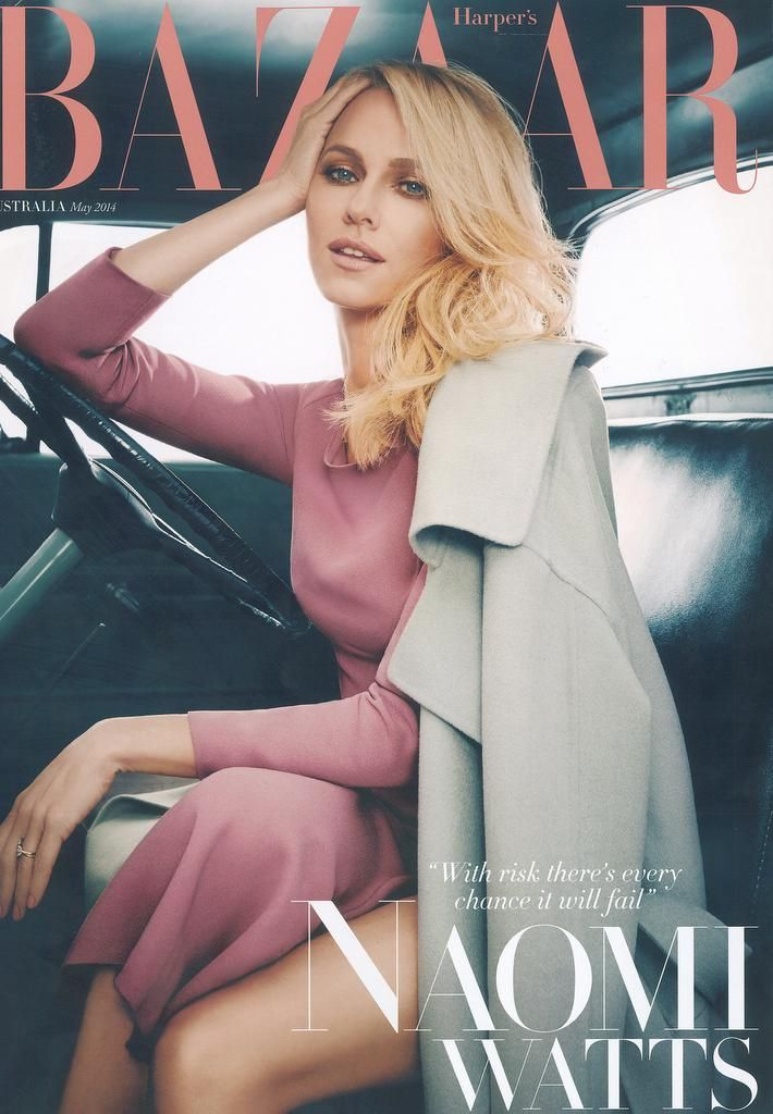 Naomi Watts by James White Burberry Beauty Look on the cover of Harper's Bazaar Australia,  May 2014