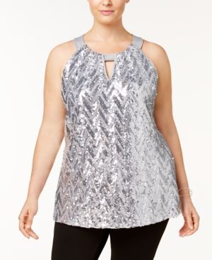 INC Plus Size Chevron-Sequined Halter Top, Created for Macy's - Silver 0X