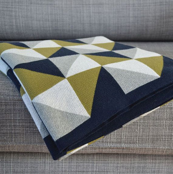 Olive green & Grey 100% Cotton knit throw on Etsy, $111.05