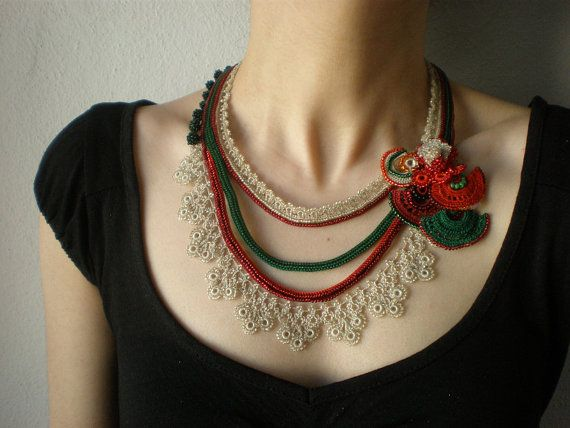 Created with sparkling cream, green and red seed beads and cotton fibers, the handmade crochet necklace has a vintage feel and unique beaded flowery details. The necklace is composed of four strands, first three is created with cream, kelly green and cardinal red cotton fiber and ornamented with sparkling and translucent cream, flame red, deep red and forest green seed beads. Fourth strand is a beaded flowery edging and it is crocheted with cream acrylic fiber and translucent seed beads…