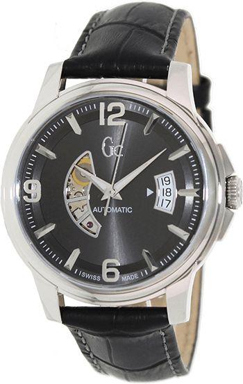 Montre Homme Guess Collection X84003G5S - Automatique - Analogique - Cadran en Acier inoxydable Argent - Bracelet en Cuir Noir - Date